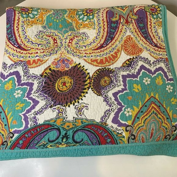quilt bedspread coverlet blue purple paisley print